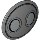 LEGO Dark Stone Gray Shield Round and Rounded Front with Decoration (26592)