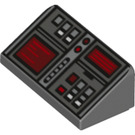 LEGO Dark Stone Gray Slope 1 x 2 (31°) with Buttons and Two Red Screens (26823)