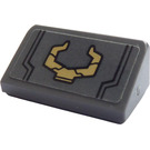 LEGO Dark Stone Gray Slope 1 x 2 (31°) with Gold Horns Sticker