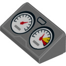 LEGO Dark Stone Gray Slope 1 x 2 (31°) with Two Gauges (24741)