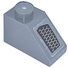 LEGO Dark Stone Gray Slope 1 x 2 (45°) with Air Vent Left Sticker