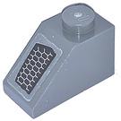 LEGO Dark Stone Gray Slope 1 x 2 (45°) with Air Vent Right Sticker
