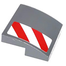 LEGO Dark Stone Gray Slope 2 x 2 Curved with Red and White Danger Stripes on Front Bumper left Sticker