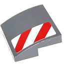 LEGO Dark Stone Gray Slope 2 x 2 Curved with Red and White Danger Stripes on Front Bumper right Sticker