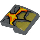 LEGO Dark Stone Gray Slope 2 x 2 Curved with Rock and Lava Sticker