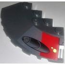LEGO Dark Stone Gray Slope Brick 6 x 6 (25°) Corner Round with Red Square and Launcher (Right) Sticker