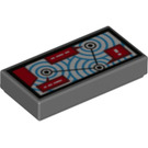 LEGO Dark Stone Gray Tile 1 x 2 with Radar with Groove (38637)
