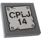 LEGO Dark Stone Gray Tile 2 x 2 Inverted with 'CPLJ 14' Sticker