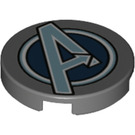 LEGO Dark Stone Gray Tile 2 x 2 Round with Avengers Symbol with Bottom Stud Holder (45984)