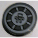 LEGO Dark Stone Gray Tile 2 x 2 Round with SW radial machinery Sticker with Bottom Stud Holder
