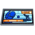 LEGO Dark Stone Gray Tile 2 x 4 with TV Screen Baseball Sticker