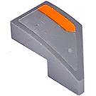 LEGO Dark Stone Gray Wedge 1 x 2 Left with Orange Stripe Left Sticker