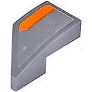 LEGO Dark Stone Gray Wedge 1 x 2 Right with Orange Stripe Right Sticker