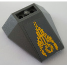 LEGO Dark Stone Gray Wedge 4 x 4 Triple Inverted with Atlantis Logo and Stones Sticker without Reinforced Studs