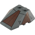 LEGO Dark Stone Gray Wedge 4 x 4 Triple with Decoration with Stud Notches (96540)