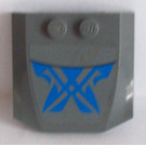 LEGO Dark Stone Gray Wedge 4 x 4 x 0.66 Curved with Black Line and Blue Markings Pattern Sticker