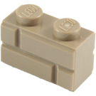LEGO Dark Tan Brick 1 x 2 with Embossed Bricks (98283)