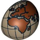 LEGO Dark Tan Minifig Helmet Bubble Half with Eastern Hemisphere Globe Decoration (12214 / 47502)