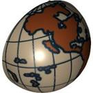 LEGO Dark Tan Minifig Helmet Bubble Half with Western Hemisphere Globe Decoration (12213 / 47494)