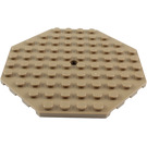 LEGO Dark Tan Plate 10 x 10 Octagonal with Hole and Snapstud (89523)