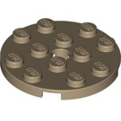 LEGO Dark Tan Plate 4 x 4 Round with Hole and Snapstud (60474)