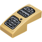 LEGO Dark Tan Slope 1 x 2 Curved with Control Panel Sticker