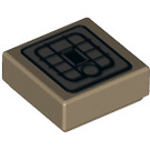 LEGO Dark Tan Tile 1 x 1 with Jetpack Decoration with Groove (25446)
