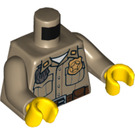 LEGO Dark Tan Torso with Star Badge, Insignia on Collar, White Undershirt, Brown Belt with Pouch (76382)