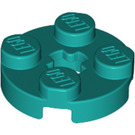 LEGO Dark Turquoise Round Plate 2 x 2 with Axle Hole (with '+' Axle Hole) (4032)