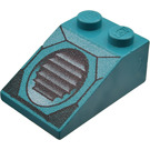LEGO Dark Turquoise Slope 25° (33) 2 x 3 with Grille with Rough Surface
