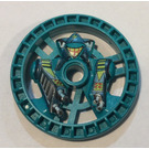 LEGO Dark Turquoise Technic Disk 5 x 5 with Decoration (32359)