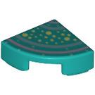 LEGO Dark Turquoise Tile 1 x 1 Quarter Circle with Decoration (67218)