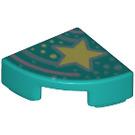 LEGO Dark Turquoise Tile 1 x 1 Quarter Circle with Decoration (67221)