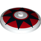 LEGO Dish 4 x 4 with Black Star on Red Circle with Solid Stud (3960 / 36210)
