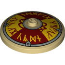 LEGO Dish 4 x 4 with Dark Red/Yellow Norse Shield with Solid Stud (3960 / 53669)