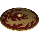 LEGO Dish 9 x 9 Inverted (Gold Phoenix in Flames Print) (17855)