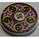 LEGO Disk 3 x 3 with Black Heads and White Circuitry on Purple Background Sticker from Set 8257 (2723)