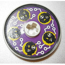 LEGO Disk 3 x 3 with Black Heads on Purple Background Sticker (2723)