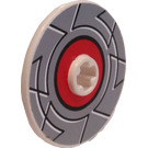 LEGO Disk 3 x 3 with Grey and Red Circle Sticker (2723)