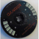 LEGO Disk 3 x 3 with Sticker dark red letters danger field generator from Set 5974 (2723)