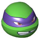 LEGO Donatello Ninja Turtle Head with Missing Tooth and Scowl (13018)