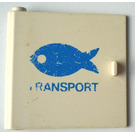 LEGO Door 1 x 5 x 4 Left with blue fish transport Decoration from set 375 (3195)