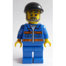 LEGO Driver with Blue Jacket with orange stripes and black cap and beard Minifigure