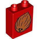 LEGO Duplo Brick 1 x 2 x 2 with Coconut with Bottom Tube (4066 / 13739)
