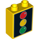 LEGO Duplo Brick 1 x 2 x 2 with Traffic Lights without Bottom Tube (4066 / 93535)