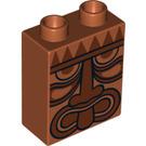 LEGO Duplo Brick 1 x 2 x 2 with Tribal Mask without Bottom Tube (4066 / 13799)