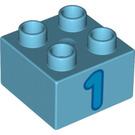 LEGO Duplo Brick 2 x 2 with Blue '1' Decoration (3437 / 15956)