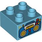 LEGO Duplo Brick 2 x 2 with Radio Decoration (3437 / 15957)
