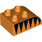 LEGO Duplo Brick 2 x 3 with Curved Top with Brown spikes (2302 / 13867)
