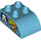 LEGO Duplo Brick 2 x 3 with Curved Top with Car Windows with Boy and Dog (2302 / 29047)